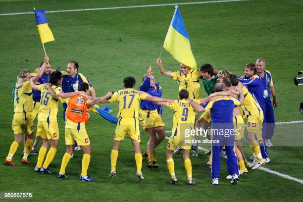 Players from Ukraine celebrate after the penalty shoot out during the 2nd round match of 2006 FIFA World Cup between Switzerland and Ukraine in...