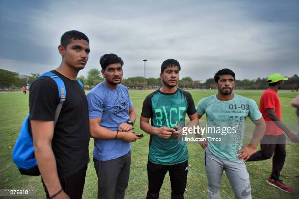 Players from Uttar Pradesh before the Men's 2nd National Javelin Throw Open Championship at Sports Authority of India on April 15 2019 in Sonipat...