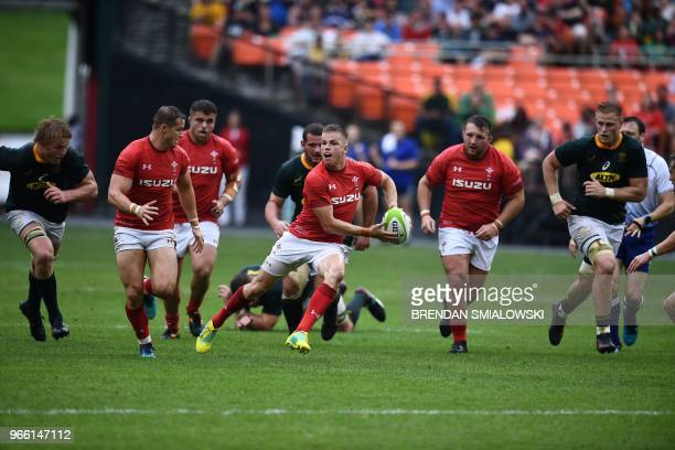 Players from Wales and South Africa vie for the ball during their Rugby Union international test match at RFK Stadium in Washington DC on June 2 2018