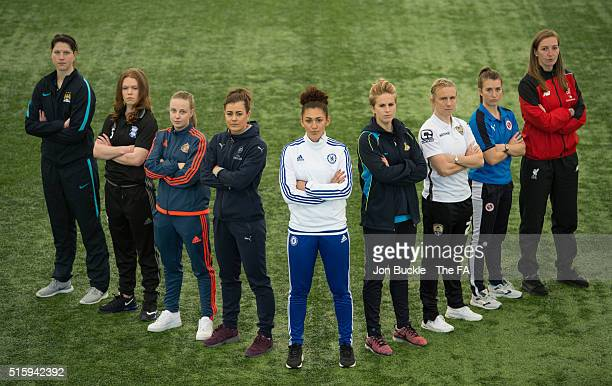 Players from WSL1 Manchester City's Marie Hourihan, Birmingham City's Aoife Mannion, Sunderland's Beth Mead, Arsenal's Jemma Rose, Chelsea's Jade...