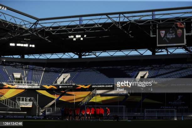 Players gather during an Sevilla FC Training Session And Press Conference at MSV Arena on August 05 2020 in Duisburg Germany
