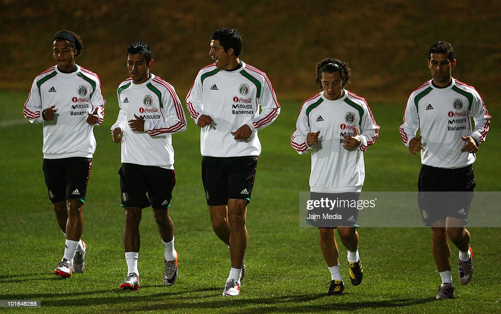Players Giovani dos Santos, Alberto Medina, Francisco Javier Rodriguez, Andres Guardado and Rafael Marquez of Mexico during a training session at Waterstone College as part of their preparation for FIFA 2010 World Cup on June 5, 2010 in Johannesburg, South Africa.