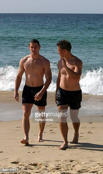 Players go for a swim at the Brisbane Broncos recovery session at Bondi Beach Sydney 23 Saturday 2006 SHD SPORT Picture by TANYA LAKE
