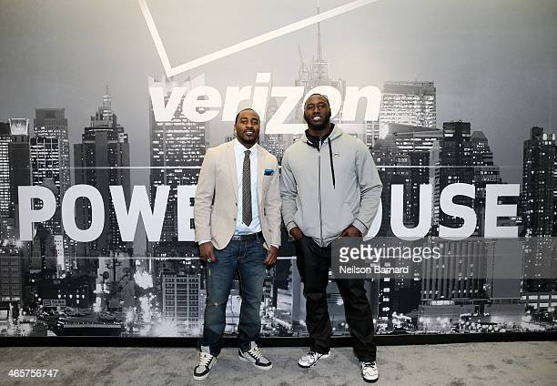 Players Hakeem Nicks and Muhammad Wilkerson attend the Verizon Power House First Look With NFL Stars Muhammad Wilkerson And Hakeem Nicks at Bryant...