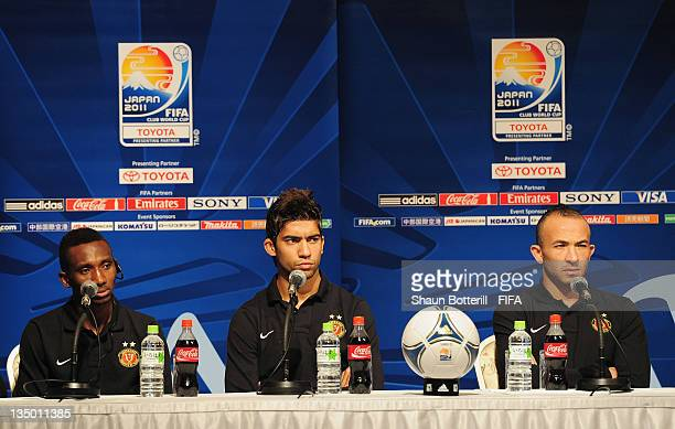 Players Harrison Afful Ousama Darragi and Wajdi Bouazzi talks to the media during an Esperance Sportive de Tunis Press Conference at the Westin...