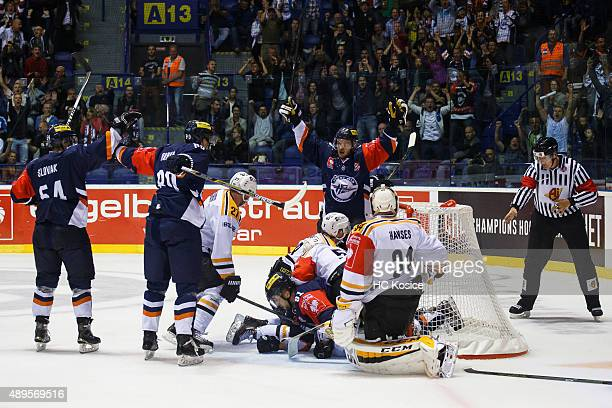 Players HC Kosice celebrate the goal during the Champions Hockey League round of thirtytwo game between HC Kosice and Skelleftea AIK at Werk Arena on...