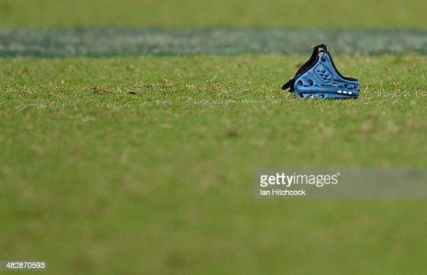 A players headgear is seen laying on the ground during the round eight Super Rugby match between the Reds and the Force at Suncorp Stadium on April 5...