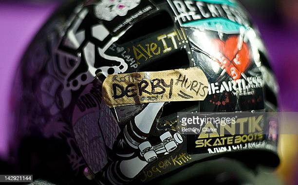 Player's helmet at the Rollergirls Roller Derby event on April 14, 2012 in Oldham, England. The contact sport of Roller Derby involves two teams of...