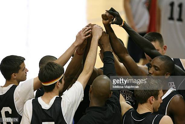 Players huddle during the try outs for the Utah Flash DLeague team on September 29 2007 at the Open Court in Lehi Utah NOTE TO USER User expressly...