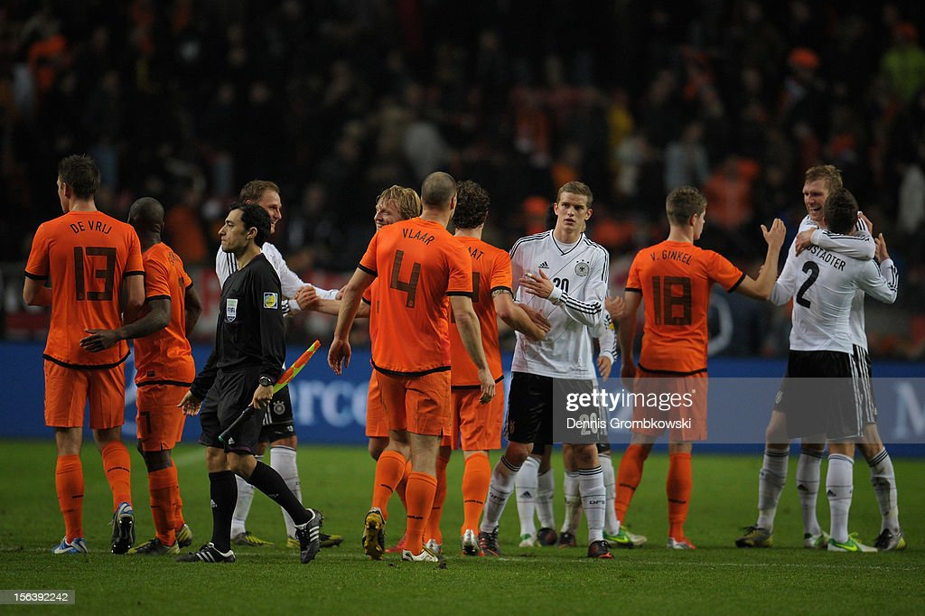 Players hug after the International Friendly match between Netherlands and Germany at Amsterdam Arena on November 14, 2012 in Amsterdam, Netherlands.