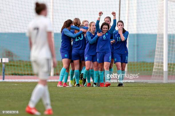 Players in 1st Goal celebration for Netherlands scored by Lobke Loonen during UEFA Development Tournament match between U16 Girls Germany and U16...