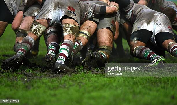 Players in a scrum during the Aviva Premiership match between Gloucester Rugby and London Irish at Kingsholm Stadium on January 2 2016 in Gloucester...