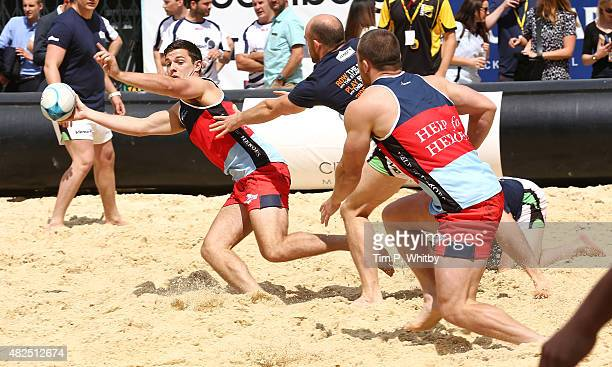 Players in action at London Beach Rugby 2015 a two day touch rugby event in aid of help for Heroes at Finsbury Square on July 31 2015 in London...