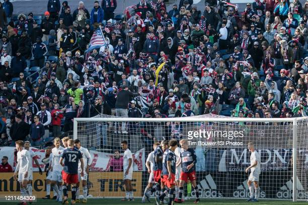 Players in action during a game between Chicago Fire and New England Revolution at Gillette Stadium on March 7 2020 in Foxborough Massachusetts