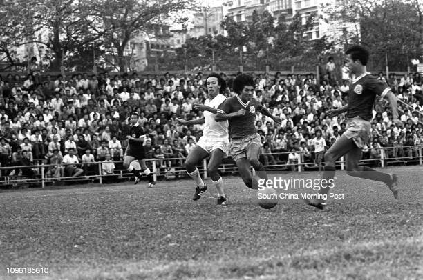 Players in action during a league game of Happy Valley against Blake Garden at the Police Ground Stadium Happy Valley won 20 17OCT77