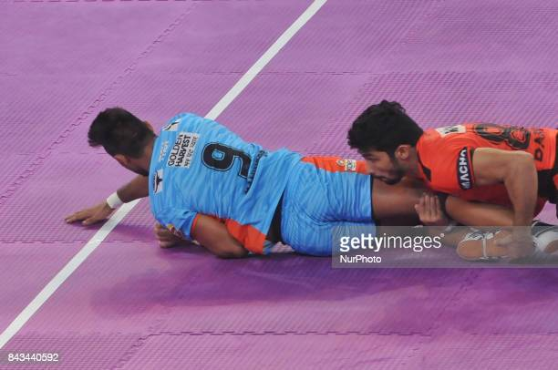 Players in action during Bengal Warriors vs U Mumbai match at the Pro Kabaddi at Netaji Indoor Stadium on September 06 2017 in Kolkata India Match...