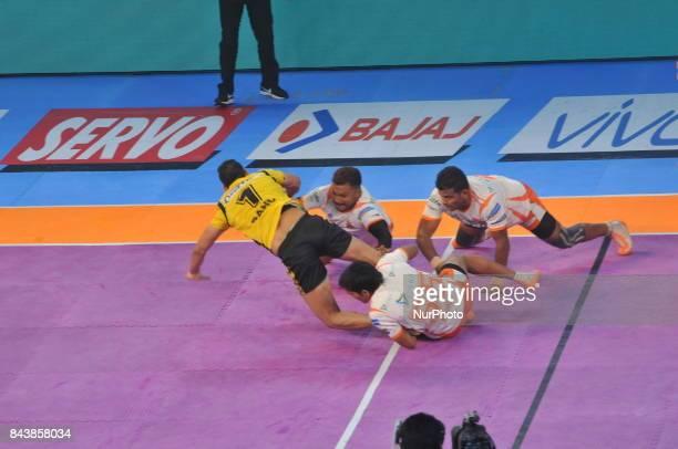 Players in action during Telugu Titans vs Puneri Paltan at the PRO KABADDI on September 072017 in Kolkata Netaji Indoor Stadium in IndiaMatch Score...