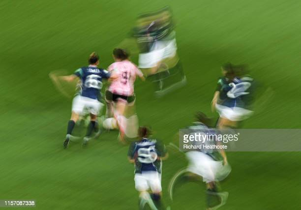 Players in action during the 2019 FIFA Women's World Cup France group D match between Scotland and Argentina at Parc des Princes on June 19 2019 in...
