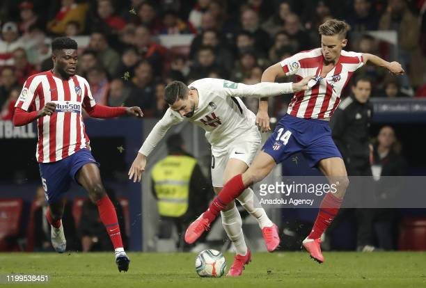 Players in action during the La Liga match between Atletico Madrid and Granada at the Wanda Metropolitano Stadium on February 8 2020 in Madrid Spain