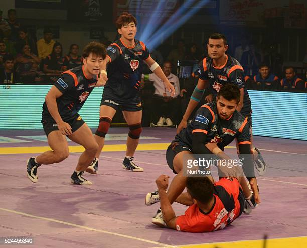 Players in action during the Pro Kabaddi league match between Bengal Warriors and Dabang Delhi in Kolkata India on Saturdayday July 25 2015