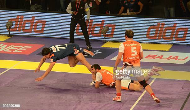Players in action during the Pro Kabaddi league match between Bengal Warriors and Puneri Paltan in Kolkata India on Sunday 7th February 2016