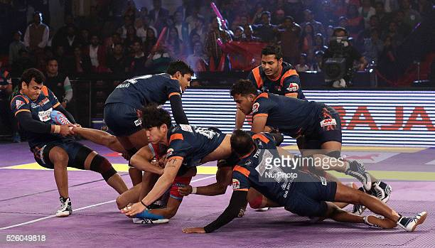 Players in action during the Pro Kabbadi league match between Jaipur Pink Panthers and Bengal Warriors at Sawai Mansingh indoor Stadium in Jaipur...