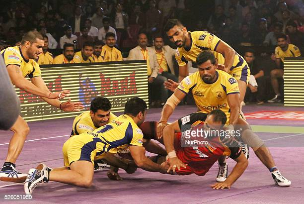Players in action during the Pro Kabbadi league match between Telgu Titans and Bengaluru Bulls at Sawai Mansingh indoor Stadium in Jaipur India on 21...