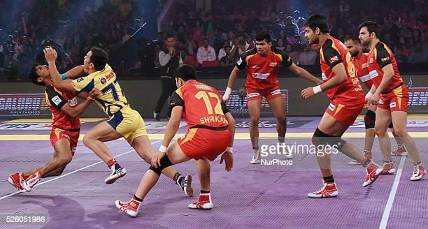 Players in action during the Pro Kabbadi league match between Telgu Titans and Bengaluru Bulls at Sawai Mansingh indoor Stadium in Jaipur India on 21...