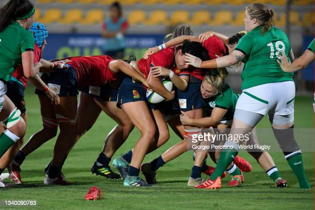 Players in action during the Rugby World Cup 2021 Europe Qualifying match between Spain and Ireland at Stadio Sergio Lanfranchi on September 13, 2021...