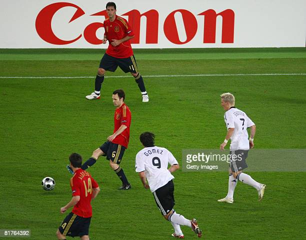 Players in action during the UEFA EURO 2008 Final match between Germany and Spain at Ernst Happel Stadion on June 29, 2008 in Vienna, Austria.