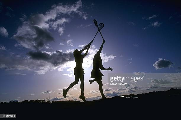 Players in action during the women's World Lacrosse Championships in Edinburgh Scotland Mandatory Credit Mike Hewitt /Allsport
