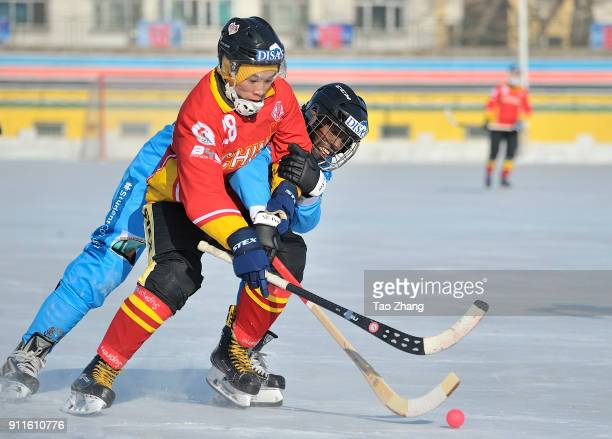 Players in action in the 2018 World Bandy Championship Men B Group during the match between China and Somalia at the Harbin sport university Stadium...