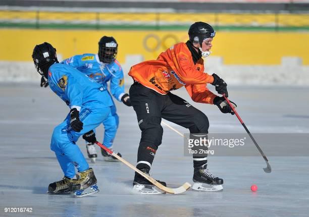 Players in action in the 2018 World Bandy Championship Men B Group during the match between Netherlands and Somalia at the Harbin sport university...