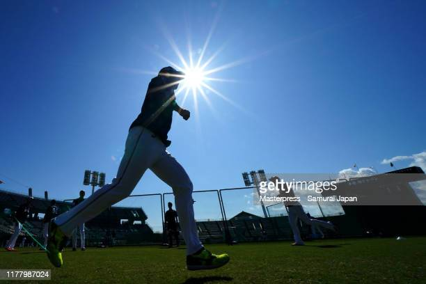 JAPAN players in action prior to the practice game between Samurai Japan and Hokkaido Nippon Ham Fighters at San Marine Stadium on October 25 2019 in...