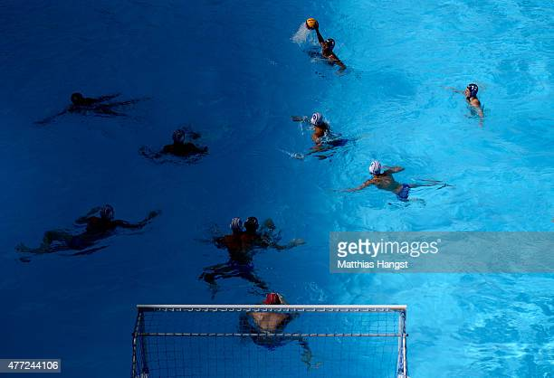 Players in action seen during the Men's Water Polo Group A match between Russia and France on day three of the Baku 2015 European Games at the Water...
