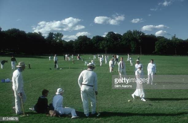 1991 Players in the Fairfield County Hunt Club's croquet tournament Fairfield New England