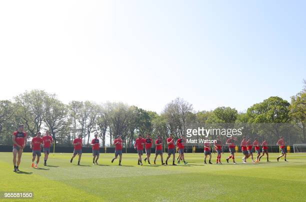 Players in the heat during a Southampton FC training session at the Staplewood Campus on May 7 2018 in Southampton England