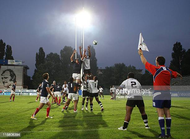 Players in the line out during the IRB Junior World Championship match between France and Fiji at Battaglini Stadium on June 10 2011 in Rovigo Italy