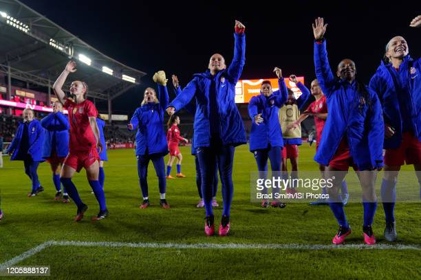 Players including Becky Sauerbrunn Ali Krieger Crystal Dunn and Abby Dahlkemper of the United States celebrate after a game between Mexico and USWNT...