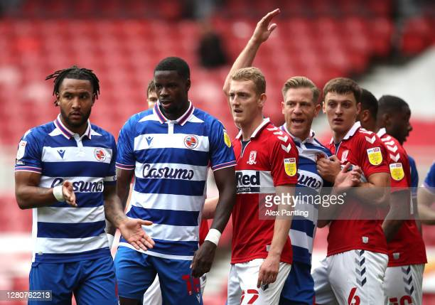 Players including Liam Moore of Reading battle for position during the Sky Bet Championship match between Middlesbrough and Reading at Riverside...