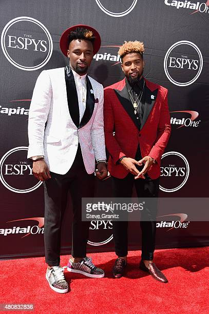 NFL players Jarvis Landry and Odell Beckham Jr attend The 2015 ESPYS at Microsoft Theater on July 15 2015 in Los Angeles California