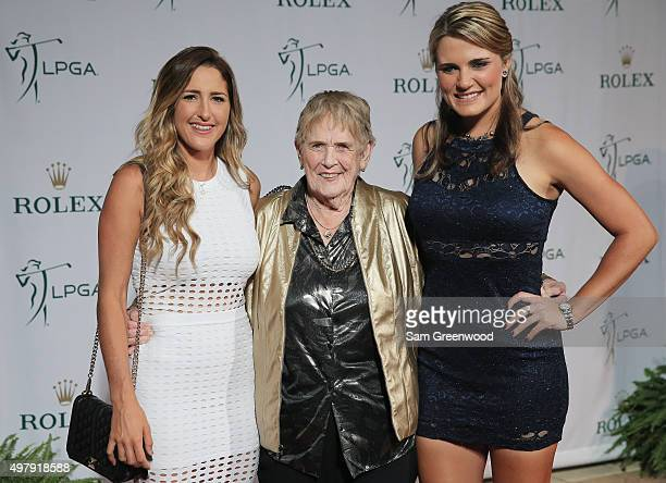 LPGA players Jaye Marie Green and Lexi Thompson pose on the red carpet with one of the LPGA founders Shirley Spork as they arrive to the LPGA Rolex...
