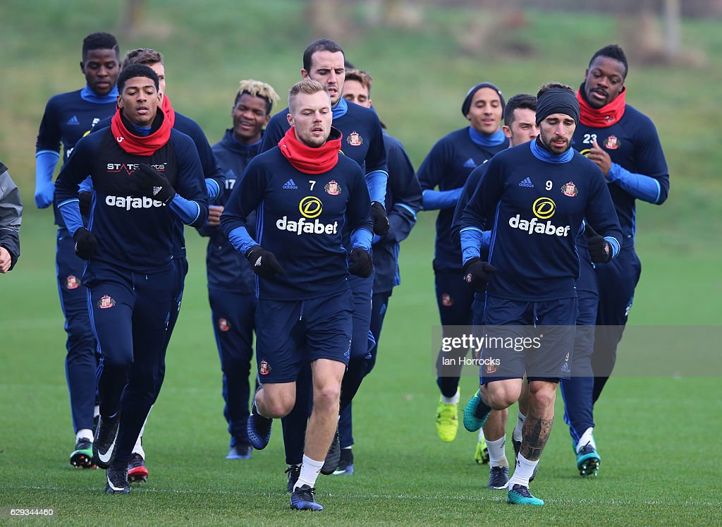 Players jog during a SAFC training session at The Academy of Light on December 12, 2016 in Sunderland, England.