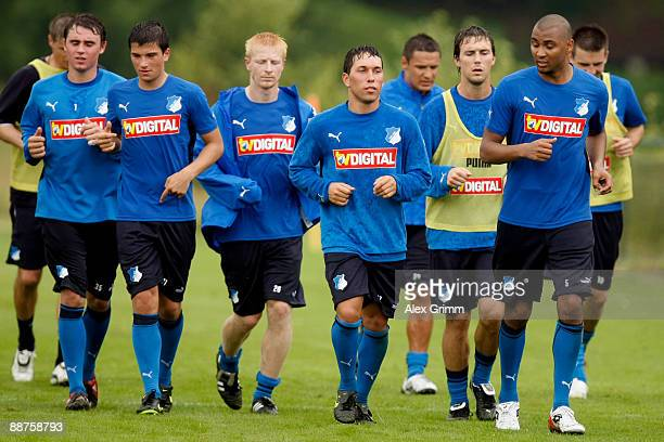 Players jog during a training session of 1899 Hoffenheim during a training camp on June 30, 2009 in Stahlhofen am Wiesensee, Germany.