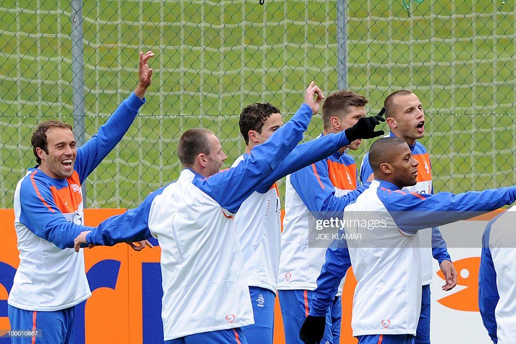 Players joke during the first Netherland's team's practice on the opening of their training camp in the Tyrolian village of Seefeld in Austria on 20 May 2010 in preparation for the 2010 FIFA World cup hosted by South Africa from June 11 to July 11.