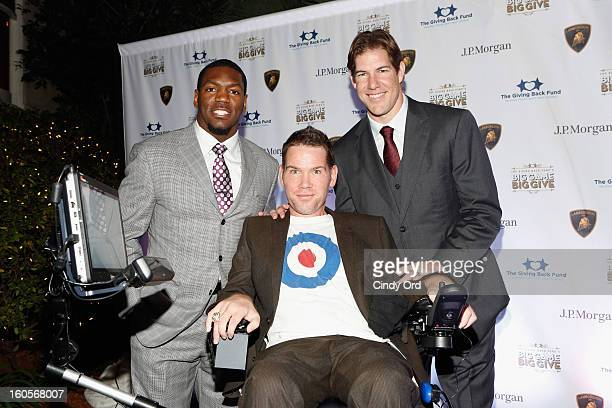 NFL players Jonathan Vilma Steve Gleason and Scott Fujita attend The Giving Back Fund's 4th Annual Big Game Big Give Super Bowl Celebration on...