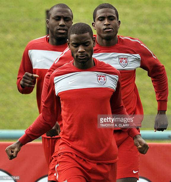 US players Jozy Altidore Maurice Edu and Edson Buddle take part in a team training session at Pilditch Stadium in Pretoria on June 10 2010 in...