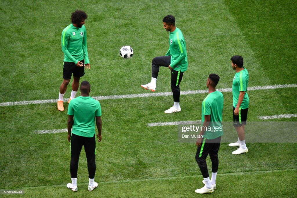 Players juggle the ball during a Saudi Arabia training session ahead of the 2018 FIFA World Cup opening match against Russia at Luzhniki Stadium on June 13, 2018 in Moscow, Russia.