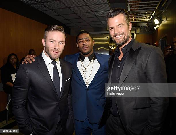 NFL players Julian Edelman and Malcolm Butler of the New England Patriots and actor Josh Duhamel attend The 57th Annual GRAMMY Awards at STAPLES...