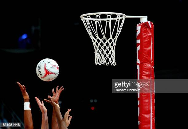 Players jump for the ball during the round four Super Netball match between the Vixens and the Fever at Hisense Arena on March 11 2017 in Melbourne...